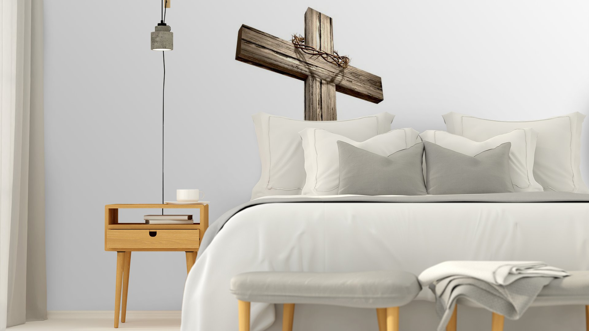 Wooden crucifix with crown of thorns vinyl wall mural for Acheter crucifix mural