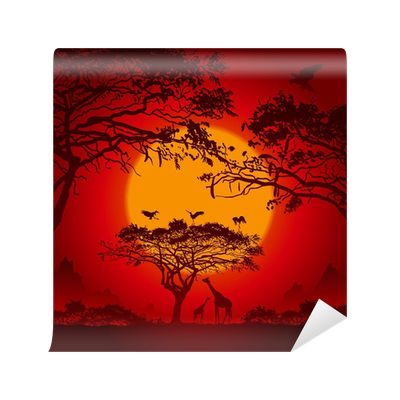 African sunset vinyl wall mural pixers we live to change for African sunset wall mural