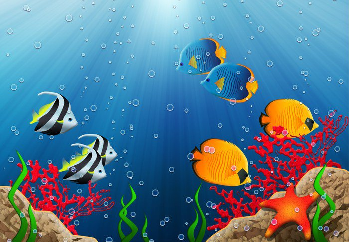 Aquarium vinyl wall mural pixers we live to change for Aquarium mural gifi