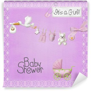Girl in shower vinyl wall murals pixers we live to for Baby shower wall mural