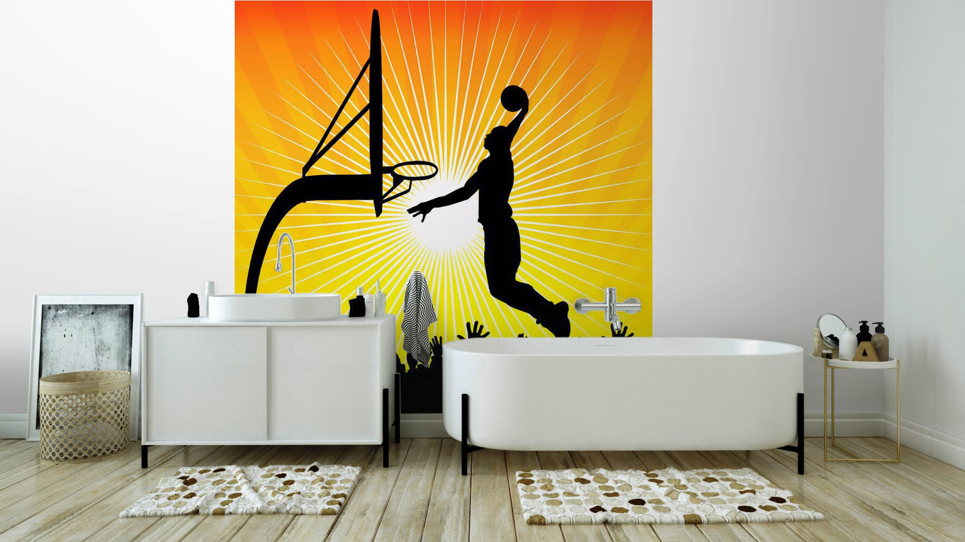 Basketball player and crowd vinyl wall mural pixers for Audience wall mural
