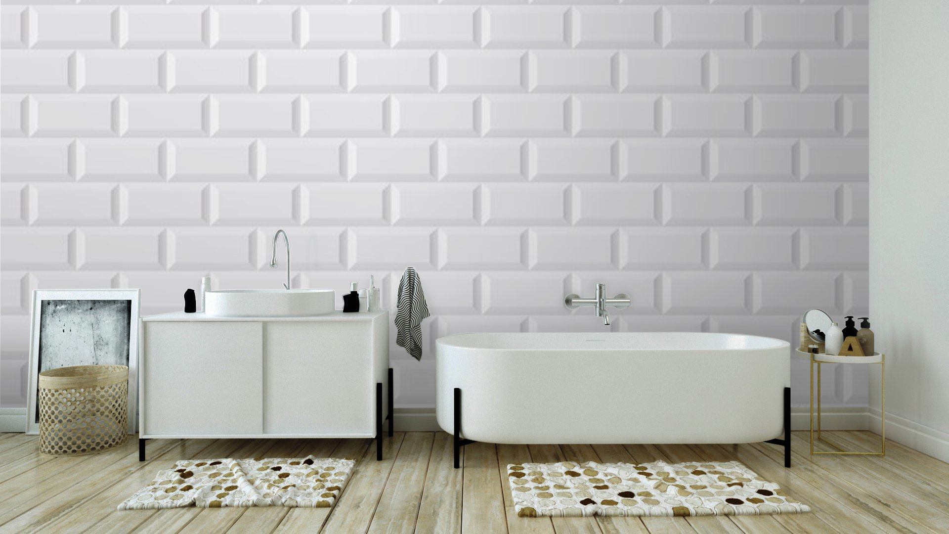 carrelage blanc metro vinyl wall mural pixers we live. Black Bedroom Furniture Sets. Home Design Ideas