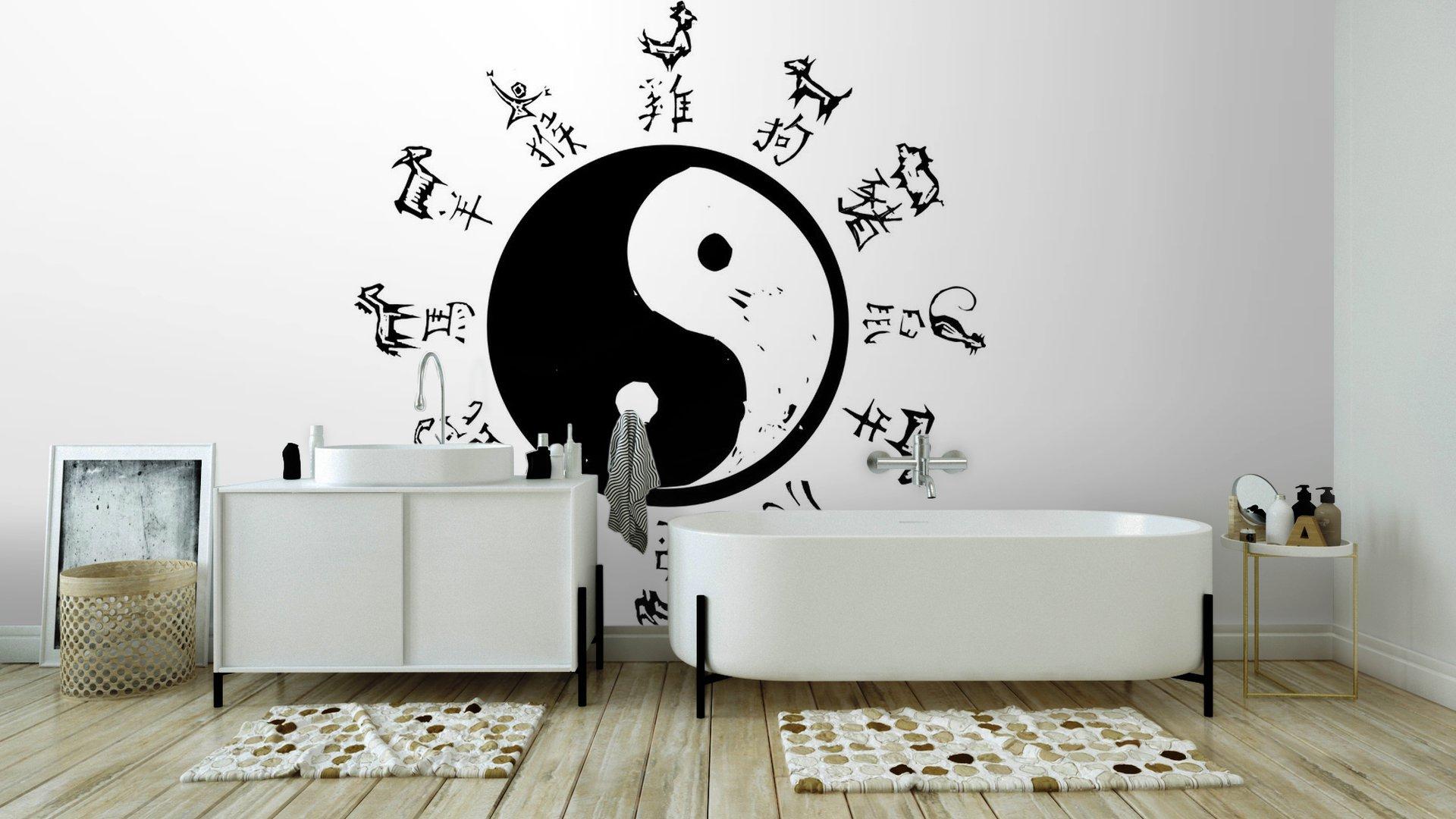 Yin yang zodiac vinyl wall mural pixers we live to change for Meuble mural yin yang