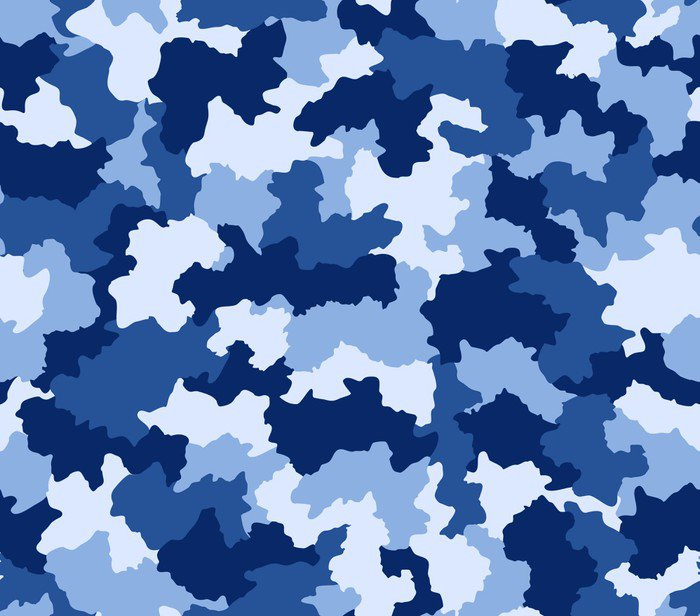 Blue camouflage seamless pattern vinyl wall mural pixers for Camouflage wall mural