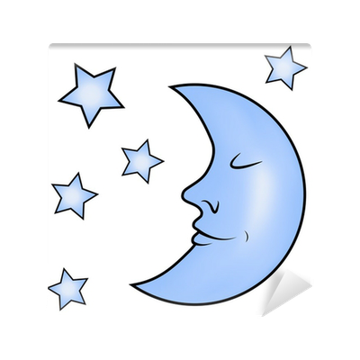 Blue moon and stars vinyl wall mural pixers we live for Blue moon mural