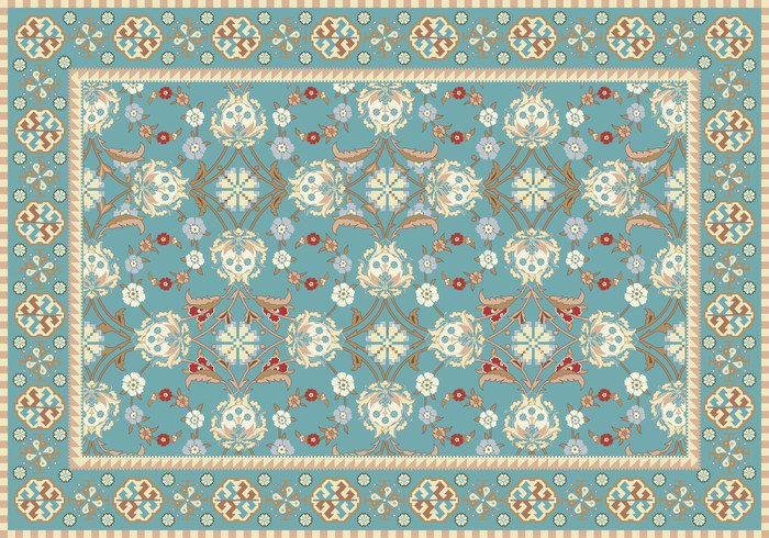 Blue oriental floral carpet design vinyl wall mural for Floral pattern wall to wall carpet