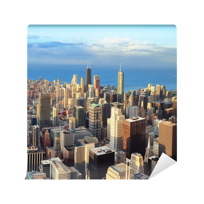 Chicago skyline at sunset vinyl wall mural pixers we for Chicago skyline wall mural