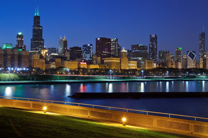 Chicago skyline vinyl wall mural pixers we live to for Chicago skyline wall mural