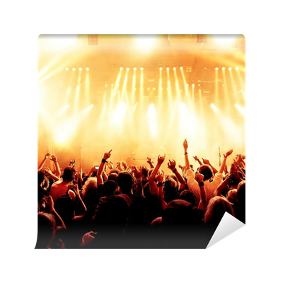 Concert crowd in front of bright yellow stage lights vinyl for Concert wall mural