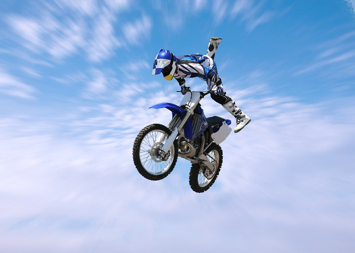 Dirt bike stunt rider vinyl wall mural pixers we live for Dirt bike wall mural