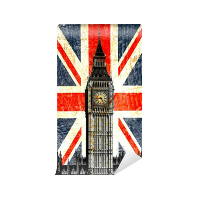 drapeau anglais big ben vertical vinyl wall mural pixers we live to change. Black Bedroom Furniture Sets. Home Design Ideas