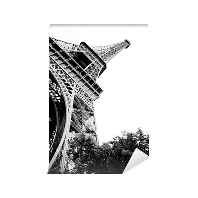 Eiffel tower black and white vinyl wall mural pixers for Eiffel tower mural black and white