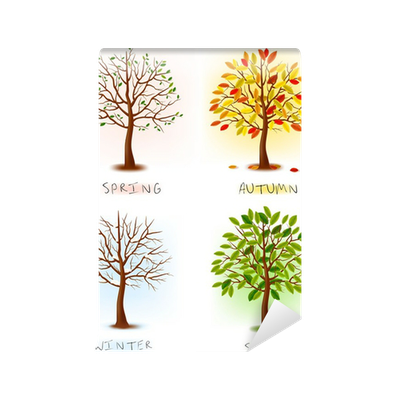 Four seasons spring summer autumn winter art trees for 4 seasons mural