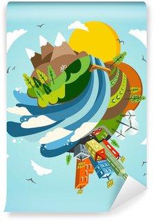 Go green energy earth illustration vinyl wall mural for Mural go green