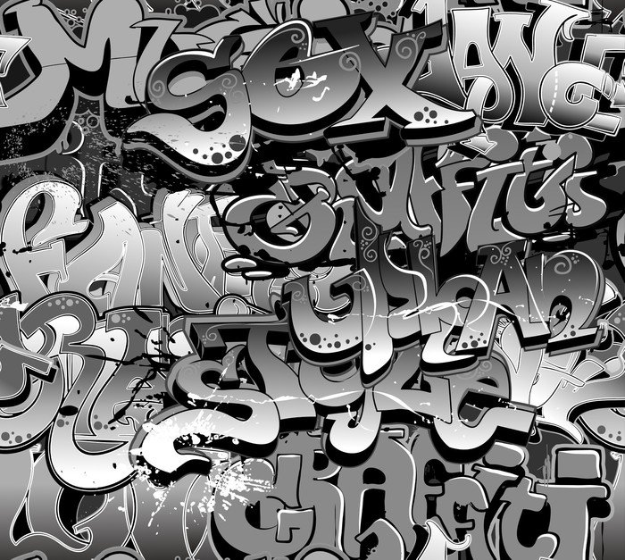 Graffiti seamless background urban art texture vinyl wall for Mural vector