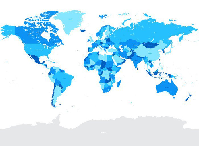 Hi detail blue vector political world map illustration for Blue world map mural