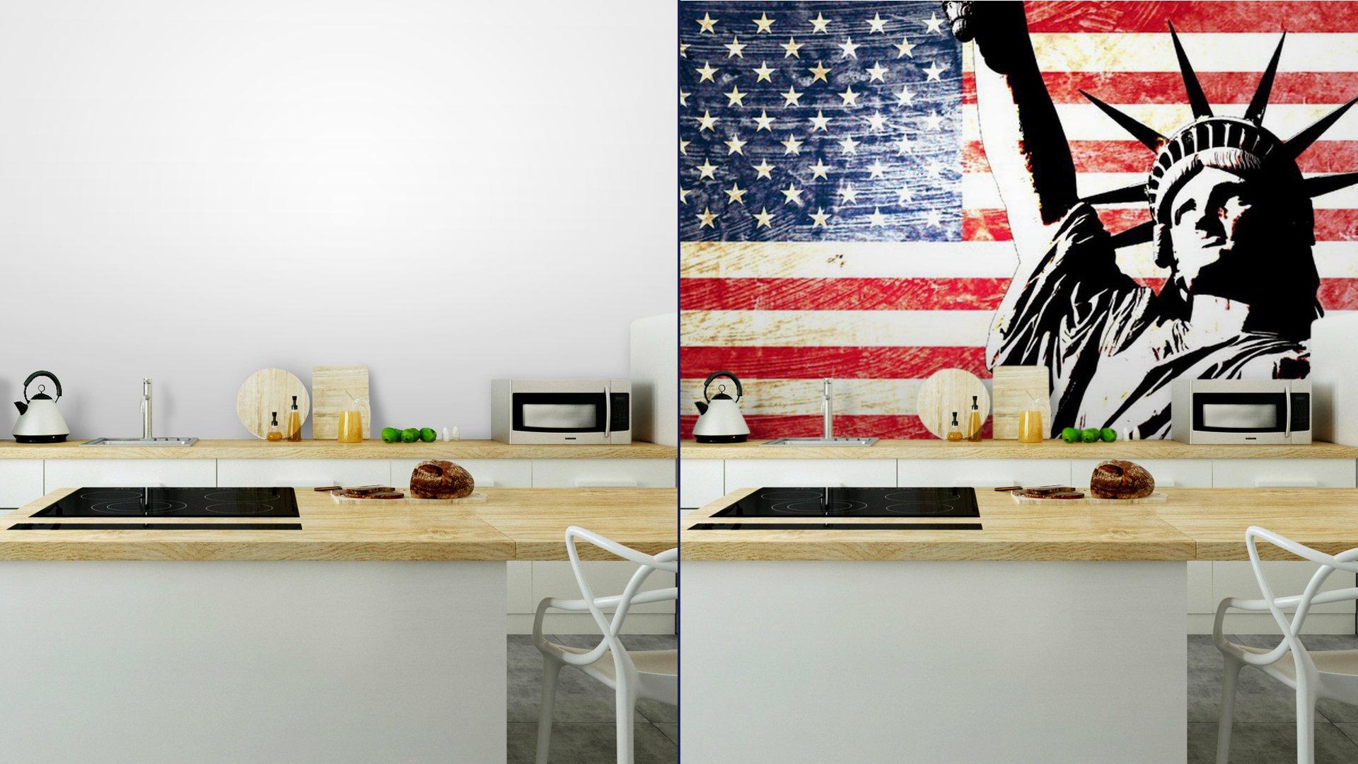 drapeau usa statue de la libert vinyl wall mural pixers we live to change. Black Bedroom Furniture Sets. Home Design Ideas