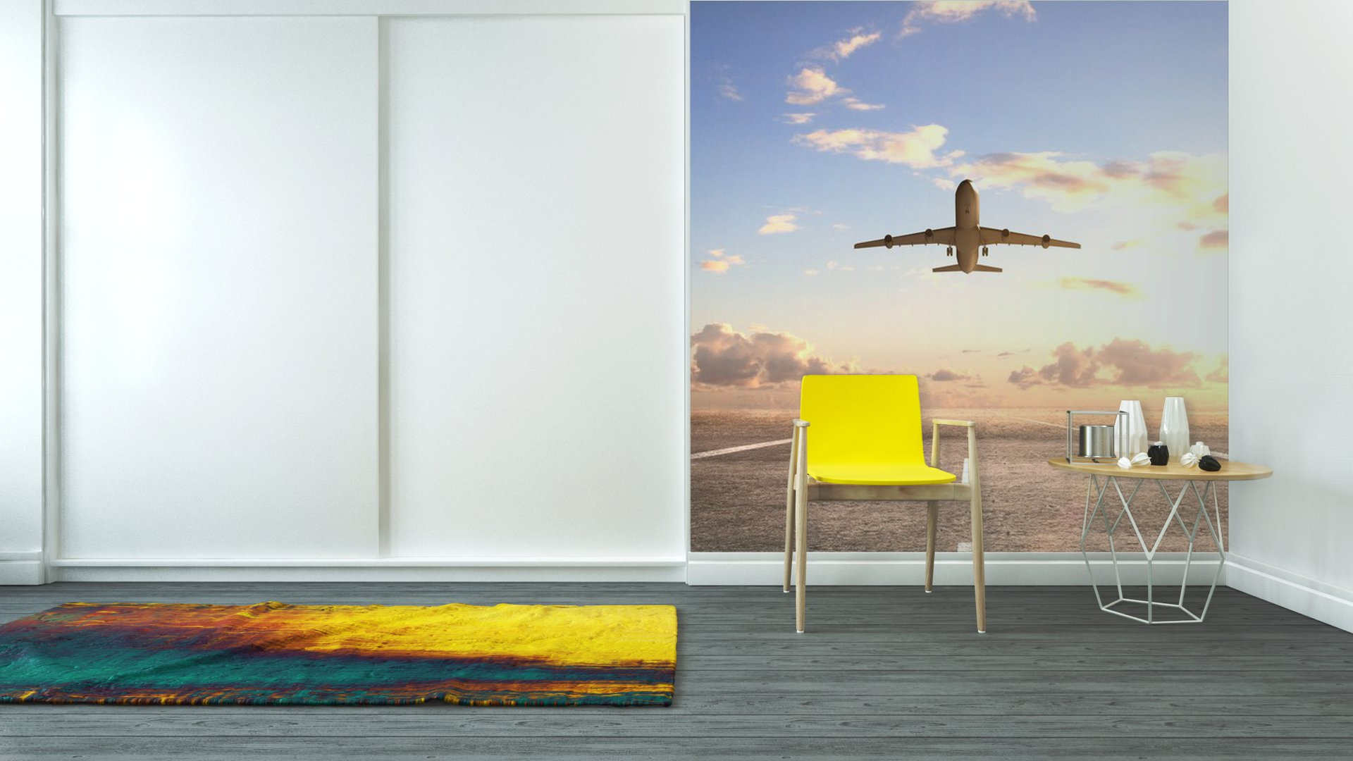 Vinyl wall mural airplane on runway pixers we live to for Aviation wall mural