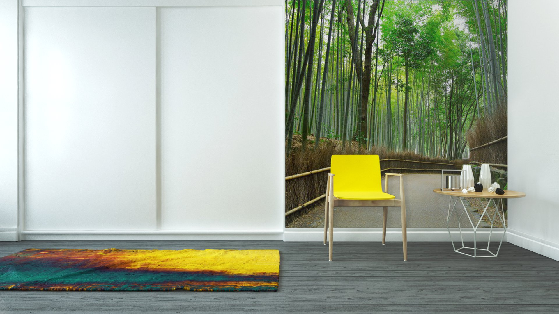 Vinyl wall mural bamboo forest with road pixers we for Bamboo forest wall mural
