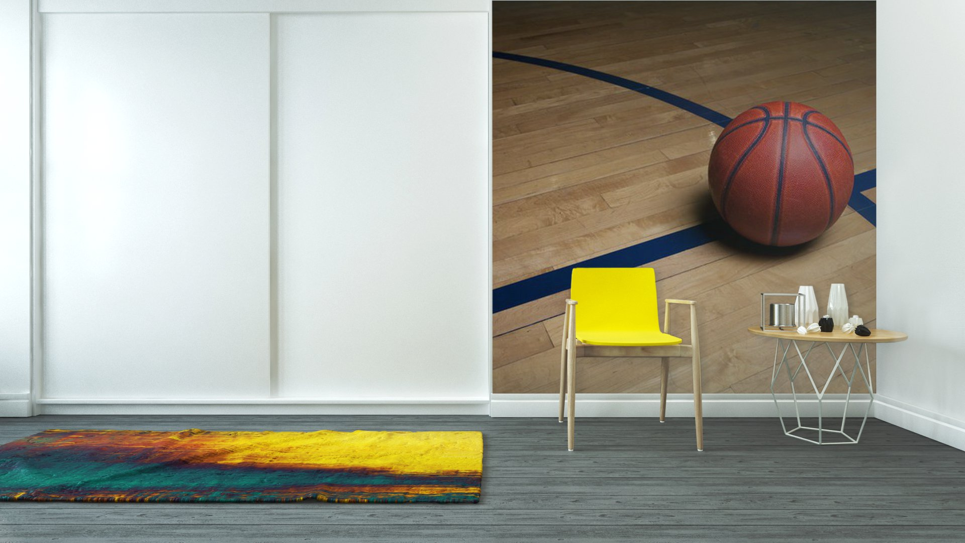 Basketball court vinyl wall mural pixers we live to for Basketball wall mural