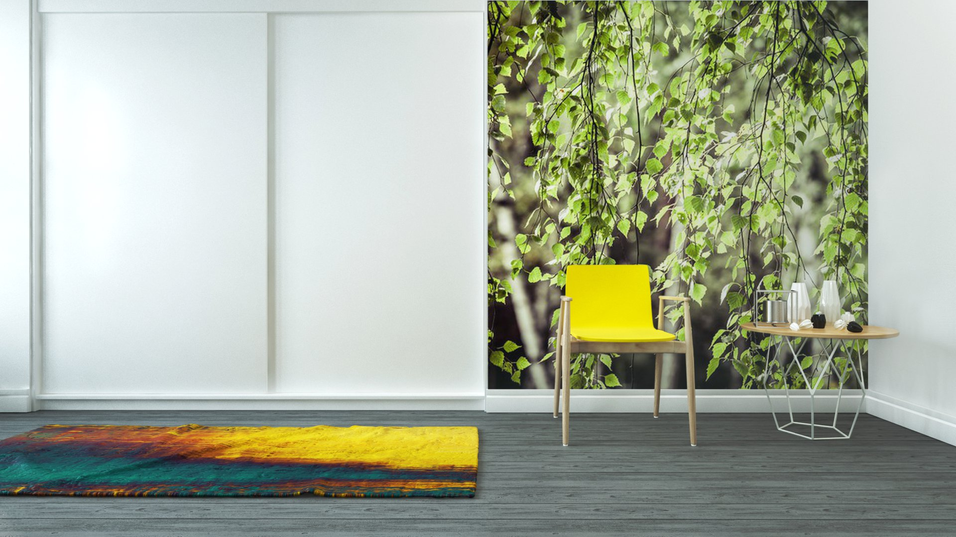 beautiful birch trees in a summer forest vinyl wall mural