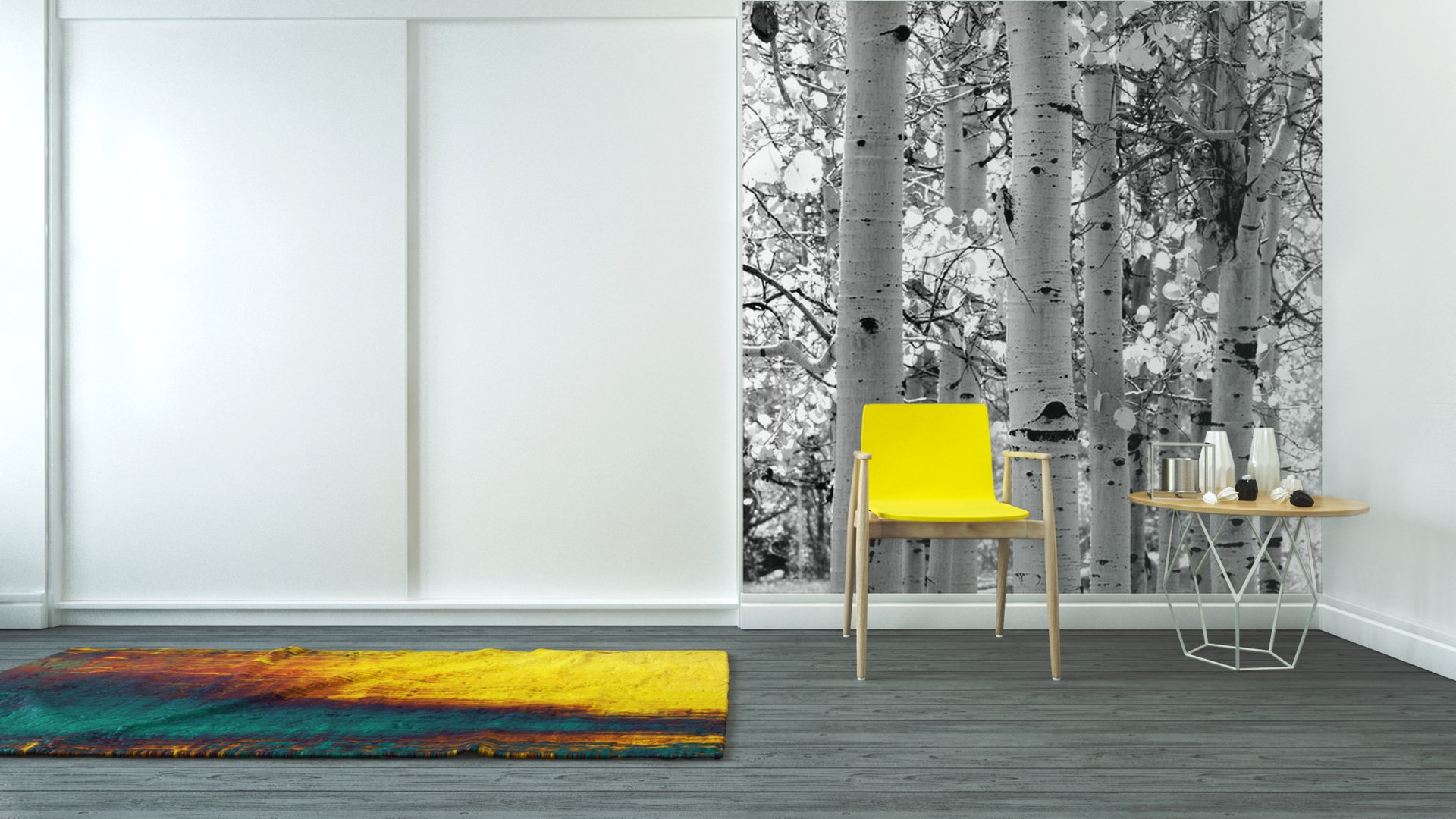Black and white image of aspen trees vinyl wall mural for Aspen tree wall mural
