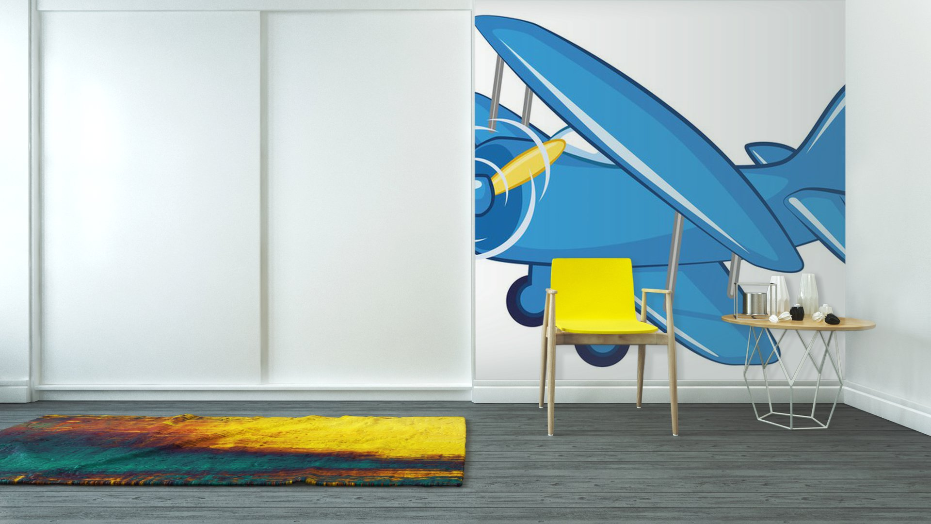 Vinyl wall mural blue airplane pixersize com for Aeroplane wall mural