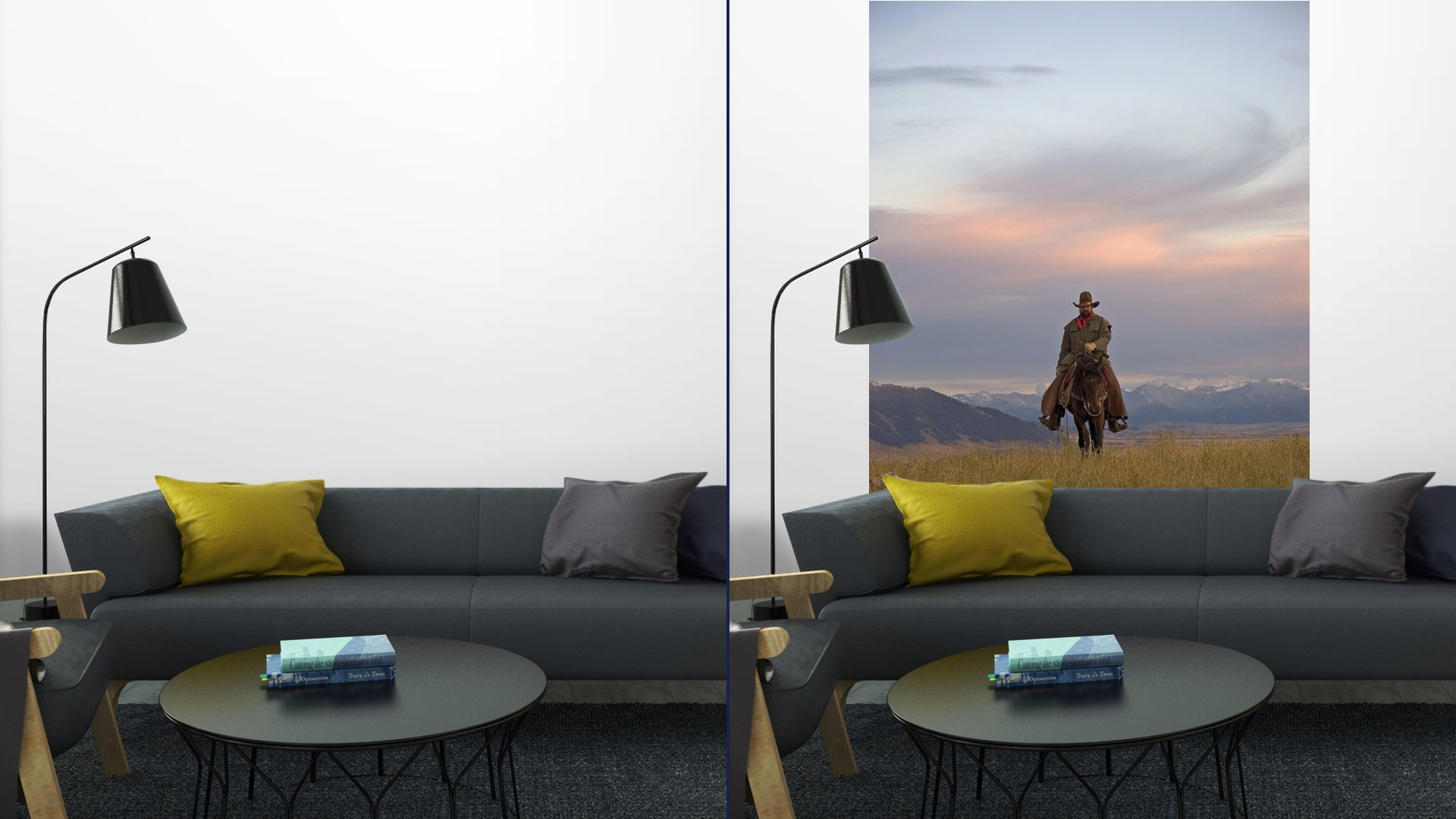 cowboy on the range vinyl wall mural pixers we live to change. Black Bedroom Furniture Sets. Home Design Ideas