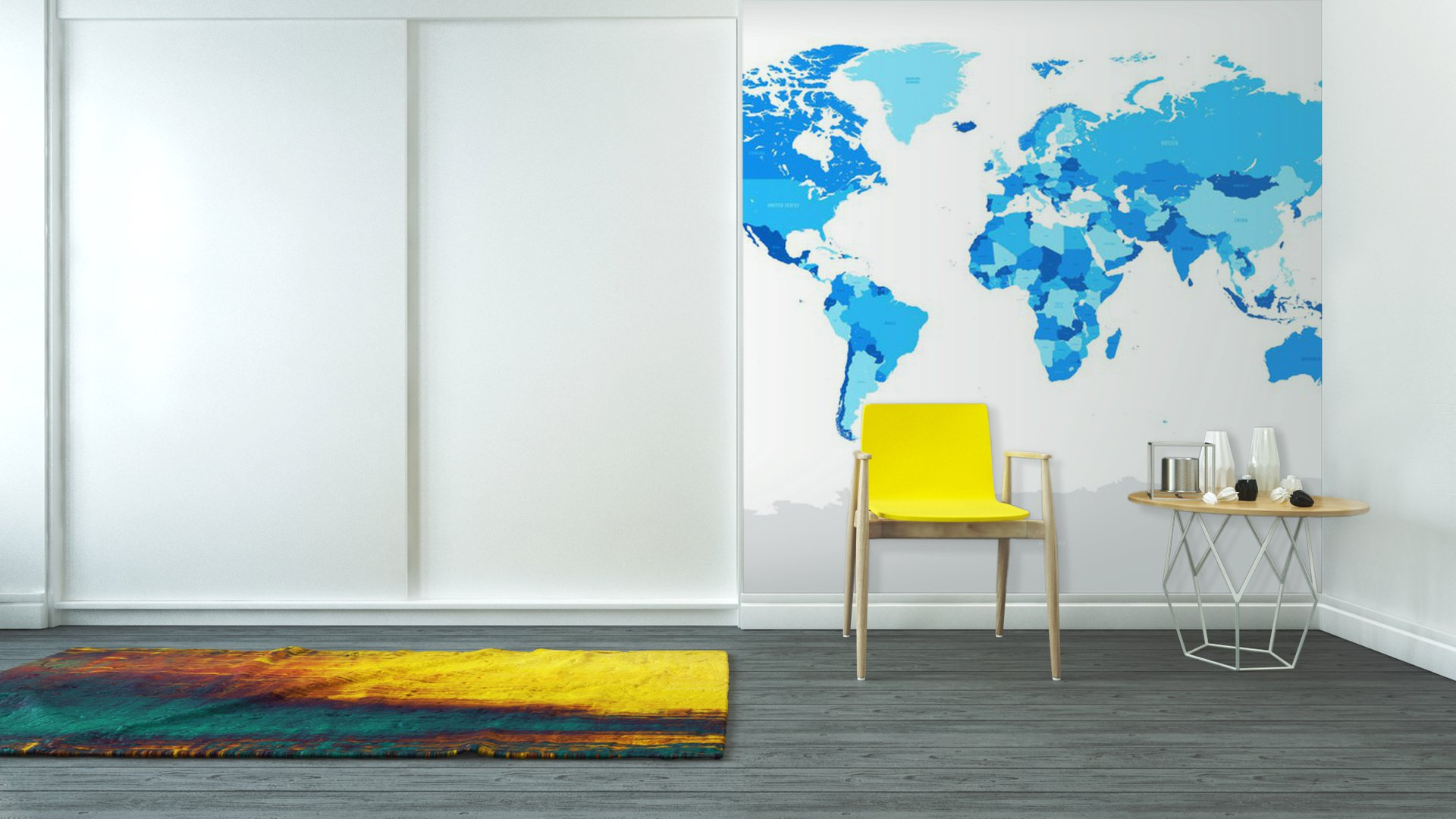 Vinyl wall mural hi detail blue vector political world map for Mural vector