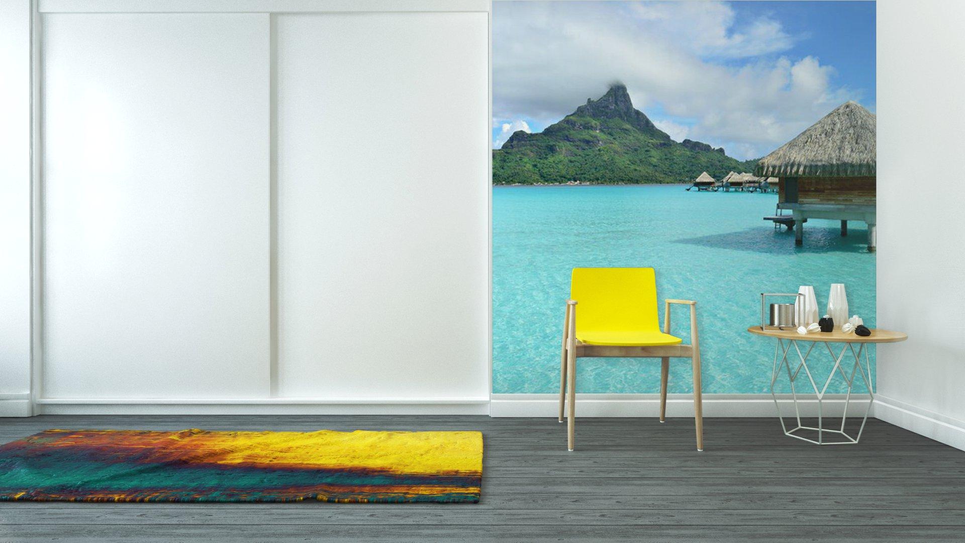 Luxury overwater vacation resort on bora bora vinyl wall for Bora bora wall mural