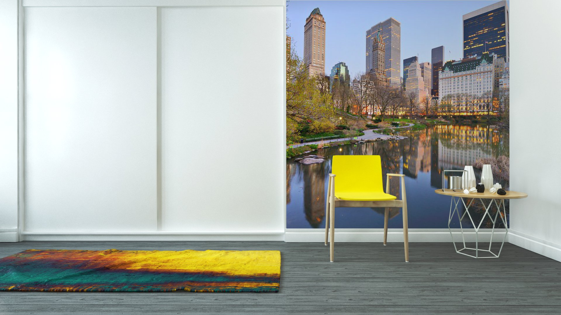 Vinyl wall mural new york city central park lake pixers for Central park mural