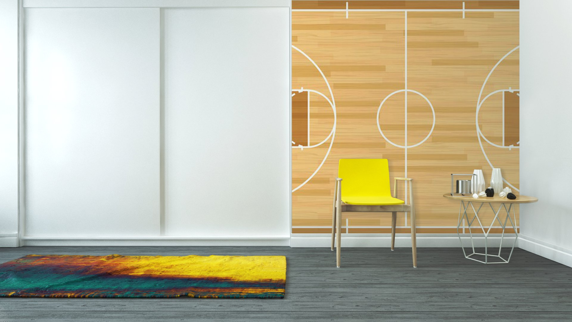 Realistic Vector Basketball Court Vinyl Wall Mural Pixers We Live To Change