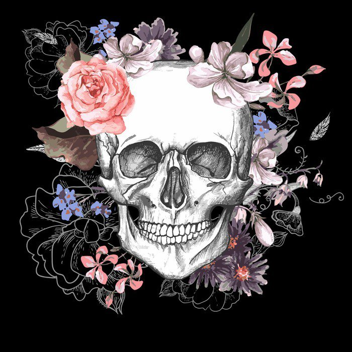 Skull and flowers day of the dead vinyl wall mural for Day of the dead mural