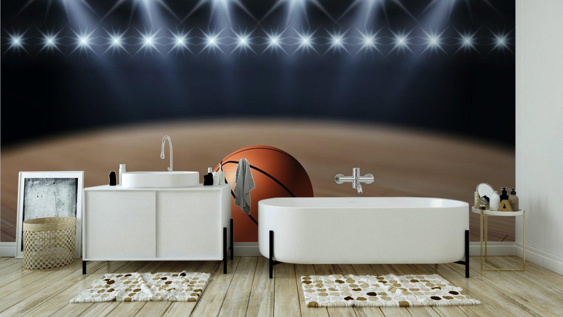 Vinyl wall mural ball on basketball court basketball for Basketball court wall mural
