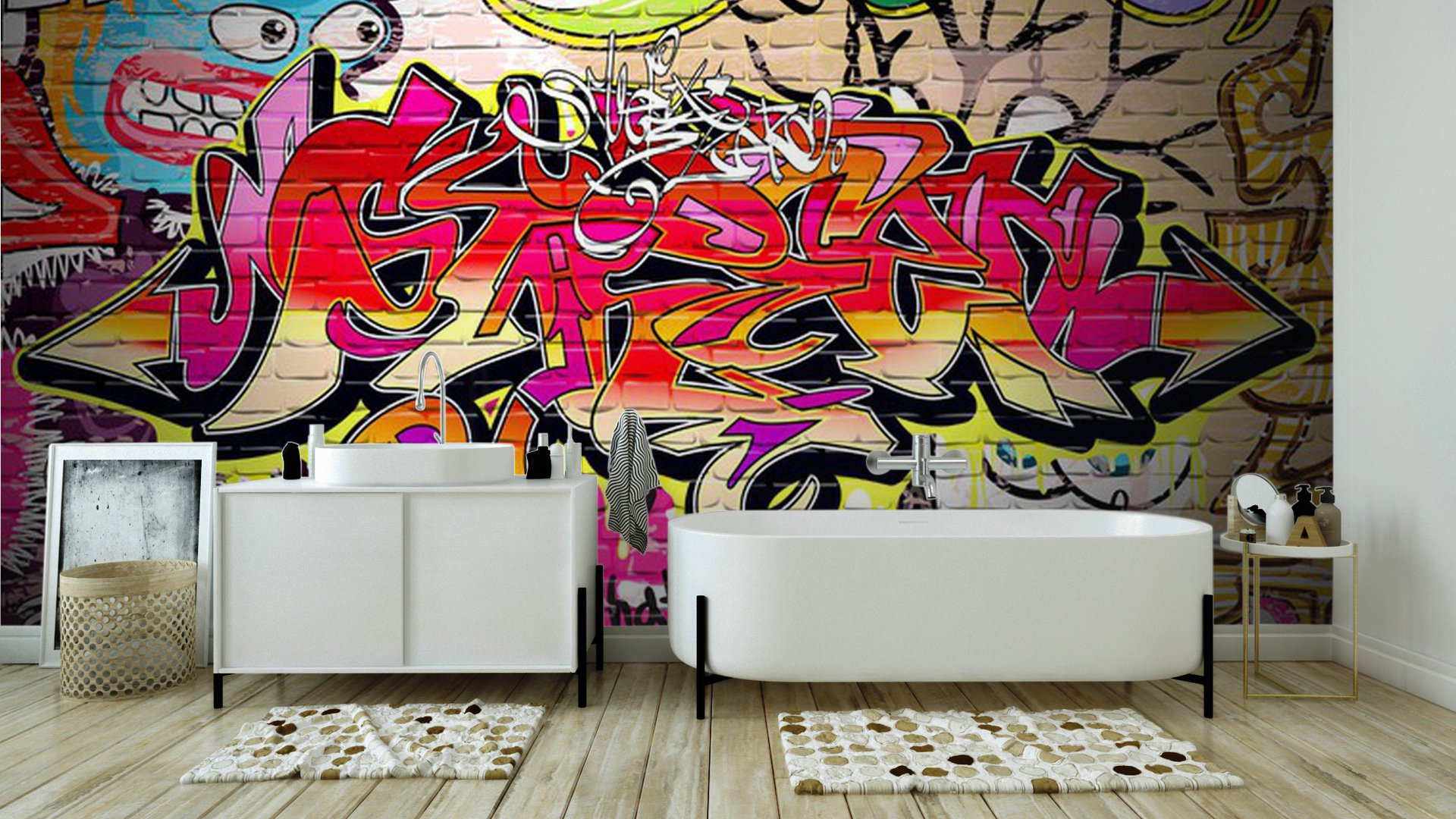 Vinyl wall mural graffiti art vector background for Mural vector