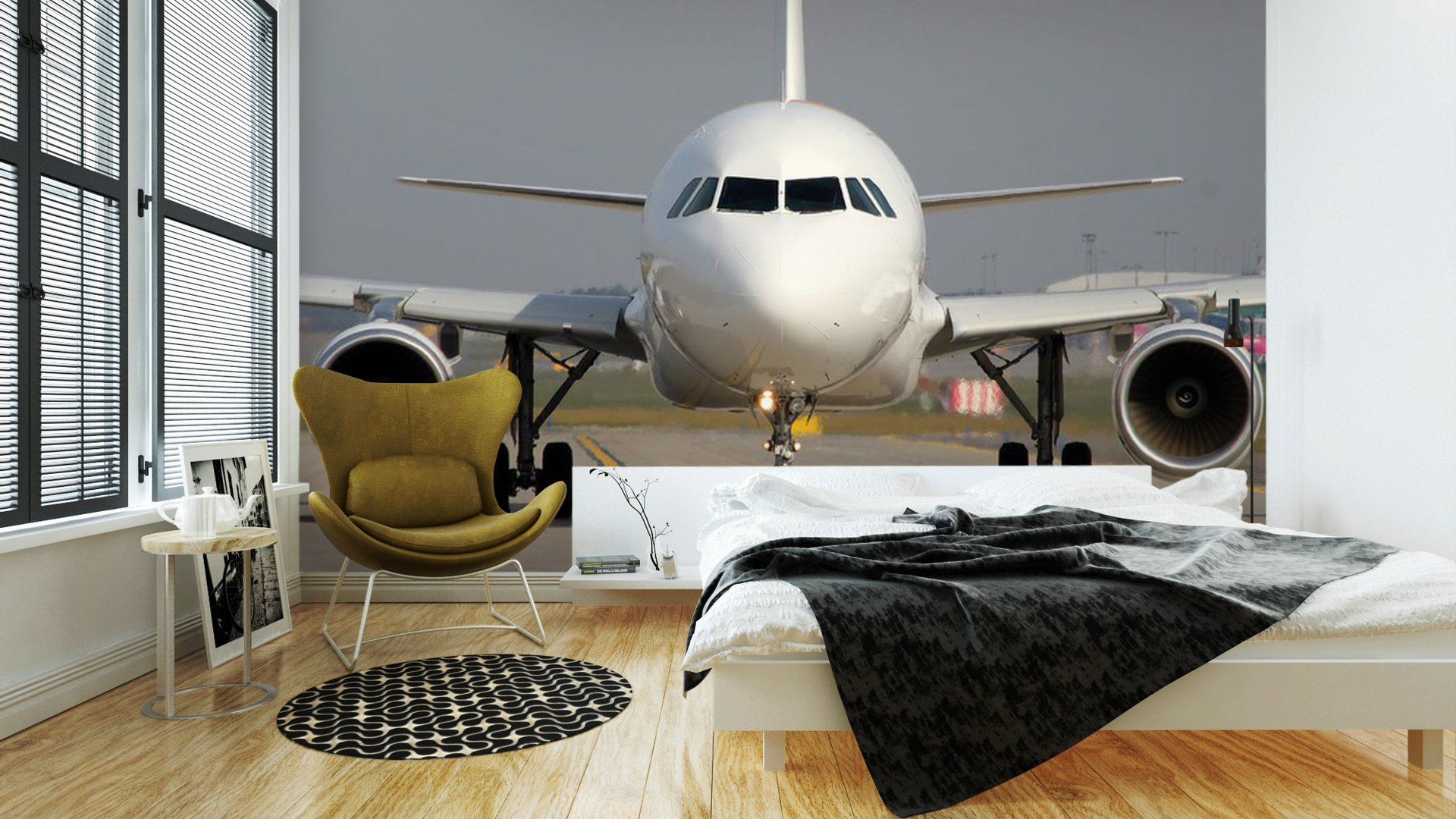 Vinyl wall mural aircraft on taxiway pixersize com for Cockpit wall mural