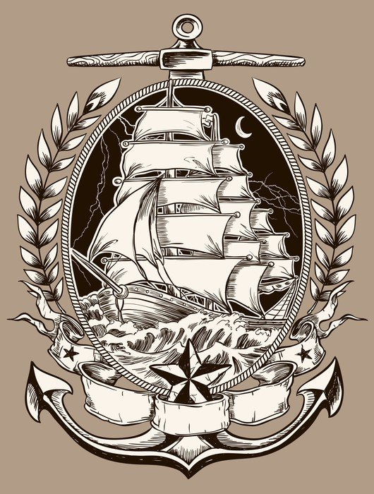 Tattoo style pirate ship in crest vinyl wall mural for Mural tattoo