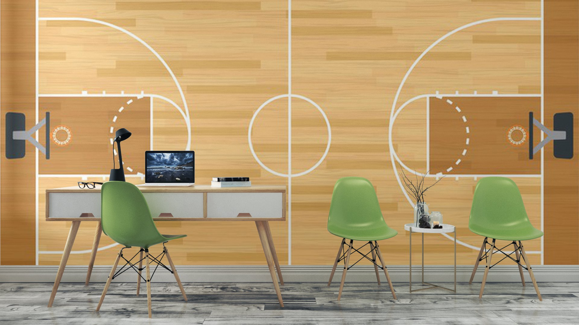 Realistic vector basketball court vinyl wall mural for Basketball court wall mural