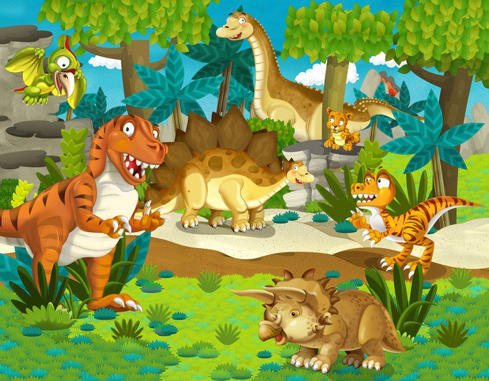 The dinosaur land illustration for the children vinyl for Dinosaur land wall mural