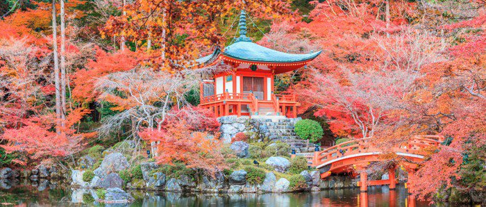 The leave change color of red in Temple japan.