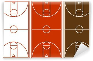 Vector basketball court set vinyl wall mural pixers for Basketball court wall mural