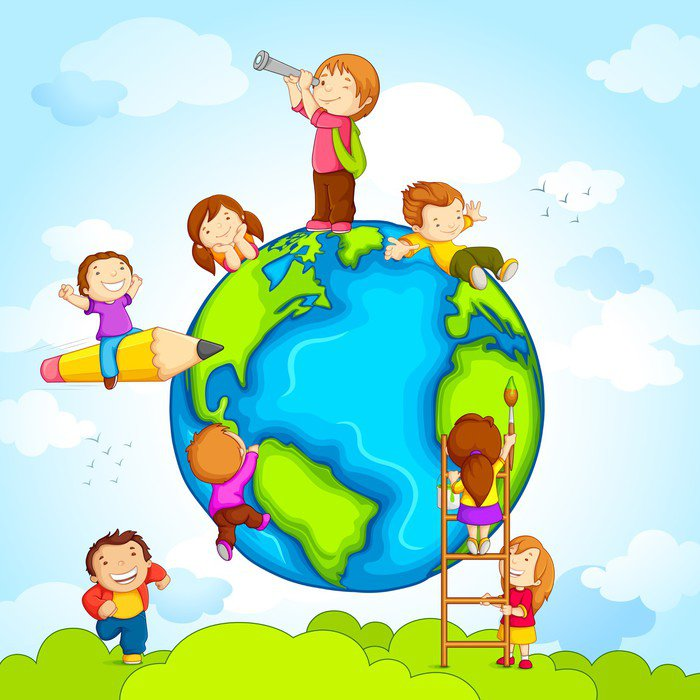 Vector illustration of kids climbing around earth vinyl for Mural vector