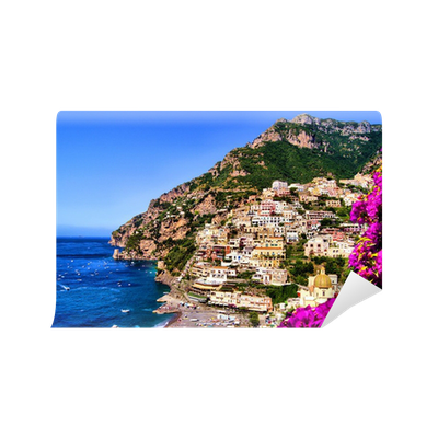 View Of The Town Of Positano With Flowers Amalfi Coast