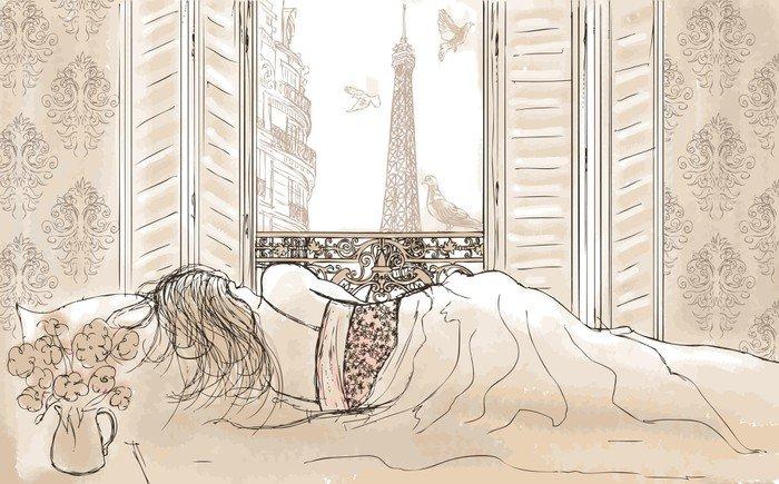 woman sleeping in Paris