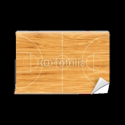 Wooden basketball court vinyl wall mural pixers we for Basketball court wall mural