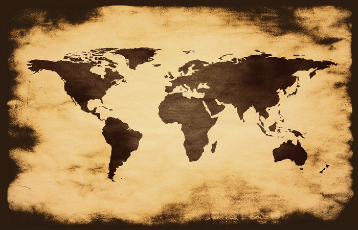 World Map On Grunge Background Vinyl Wall Mural Pixers