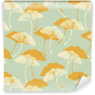 Pixerstick Wallpaper a japanese style ginkgo biloba leaves seamless tile in a gold and light blue color palette
