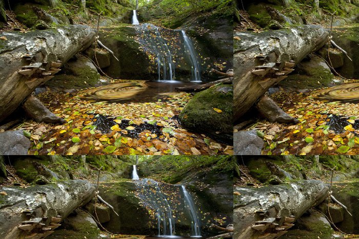 Vinyl Wallpaper a small waterfall covered in autumn foliage. Long exposure shot - Seasons