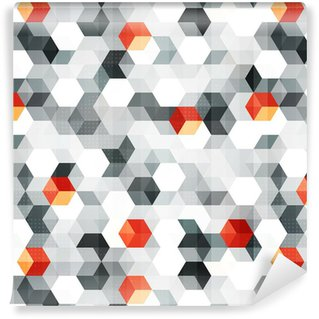 Vinyl Wallpaper abstract cubes seamless pattern with grunge effect