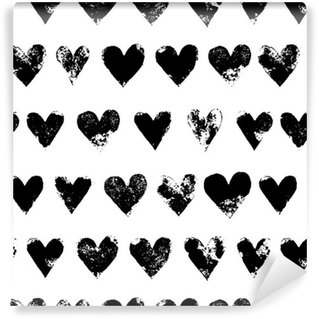 Vinyl Wallpaper Black and white grunge hearts print seamless pattern, vector